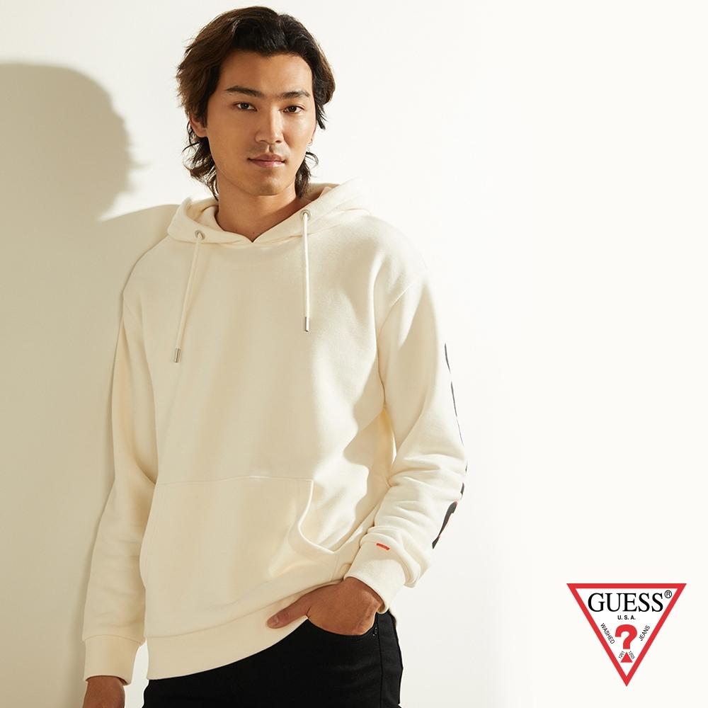 GUESS-男裝-撞色印花文字長袖帽T-白 原價3790