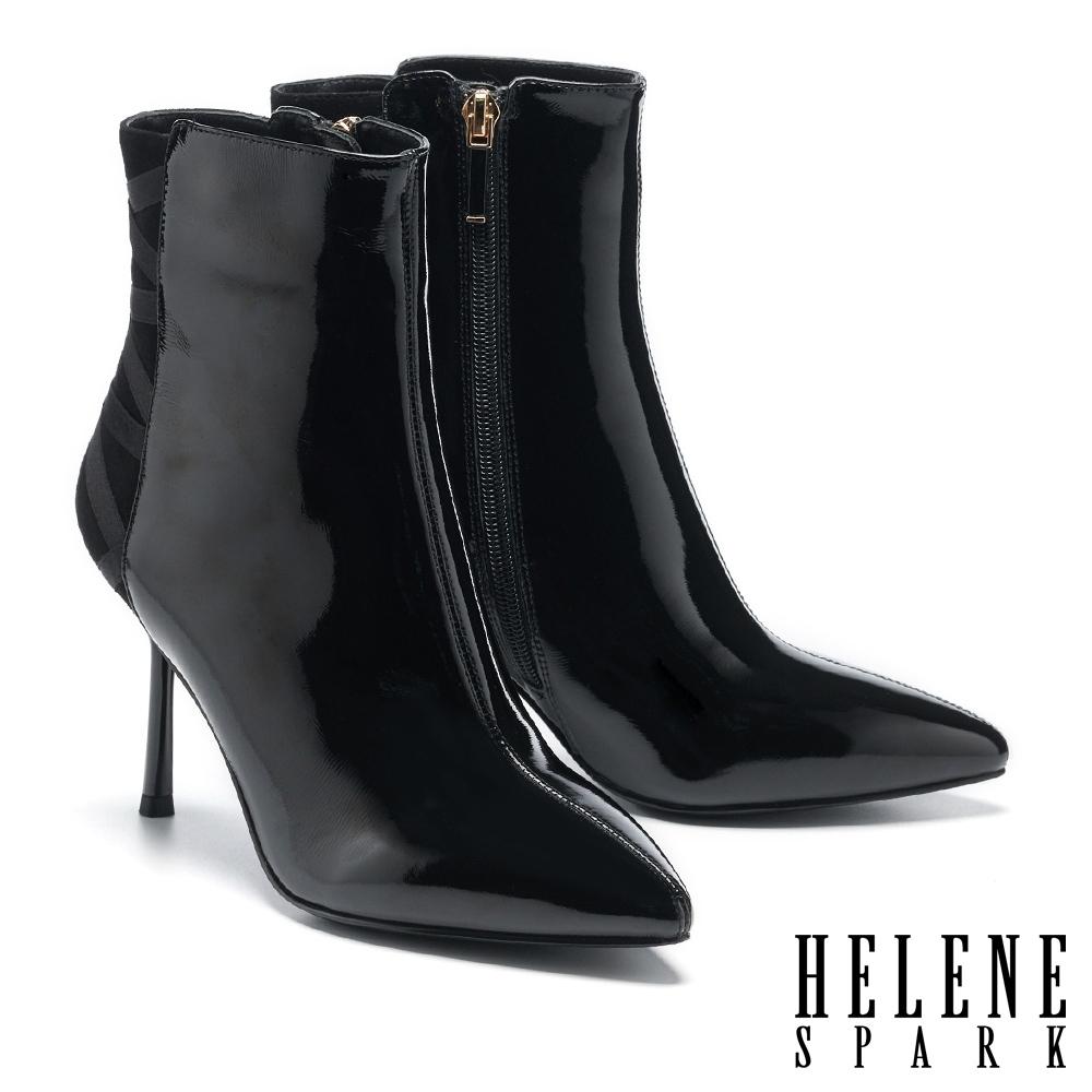 短靴 HELENE SPARK 時髦異材質交叉繫帶尖頭美型高跟短靴-黑
