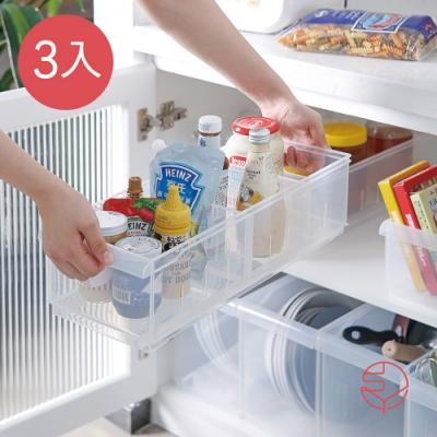 日本霜山 櫥櫃活動隔板透明PP收納盒(附輪)-M-3入