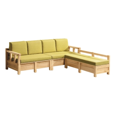 文創集 法格西時尚亞麻布實木L型抽屜沙發組合(四人座+椅凳)-248x193x93cm免組