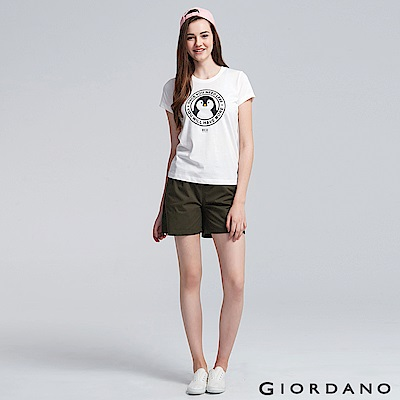 GIORDANO 女裝純棉素色抽繩卡其休閒短褲-60 深淵綠