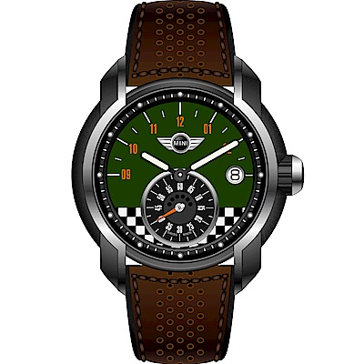 MINI Swiss Watches賽車旗幟腕錶(MINI-49E)-綠x咖啡/45mm