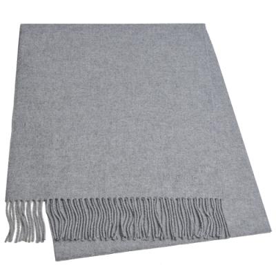 LONGCHAMP 蘇格蘭製品牌字母刺繡LOGO混喀什米爾羊毛圍巾/披肩(灰)