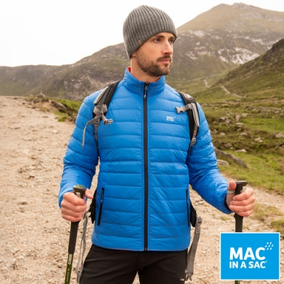 【ATUNAS 歐都納】男款輕暖袋著走雙面羽絨外套MNS111寶藍橘/極輕量易攜帶