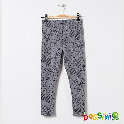 bossini女童-印花刷毛貼身褲01銀灰