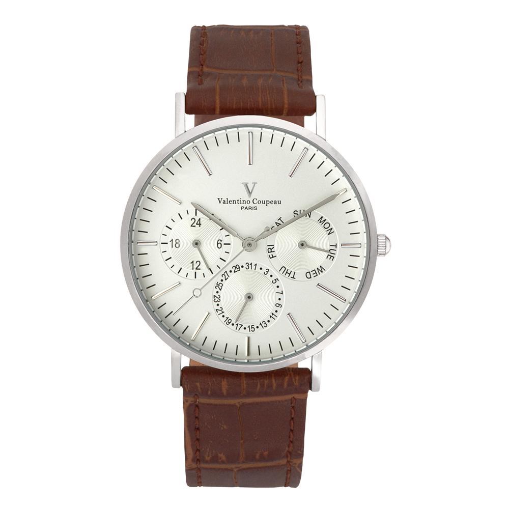 Valentino Coupeau 范倫鐵諾 古柏 超薄三眼時尚腕錶 (銀殻/咖帶/銀面)