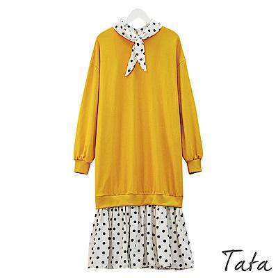假兩件拼接點點雪紡洋裝 共二色 TATA