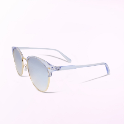 ALEGANT透視果凍藍水銀眉框墨鏡│UV400太陽眼鏡│人魚公主的初吻