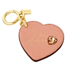 COACH x Selena粉紅愛心全皮手寫簽字單環鑰匙圈