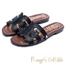Pineapple Outfitter 夏日經典 壓紋皮革鏤空平底拖鞋-黑色