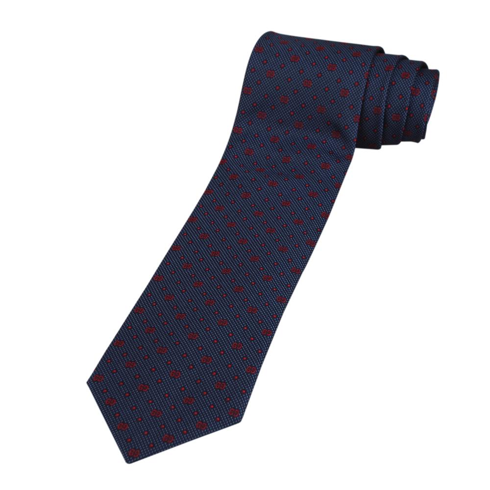 GUCCI 經典雙G LOGO點點藍底領帶(紅字)