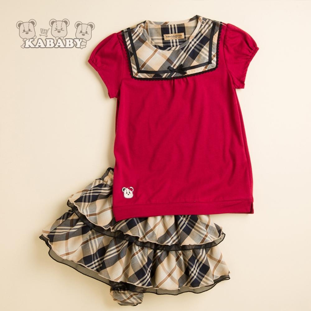 【金安德森】KA蝴蝶上衣+格紋蛋糕裙套裝