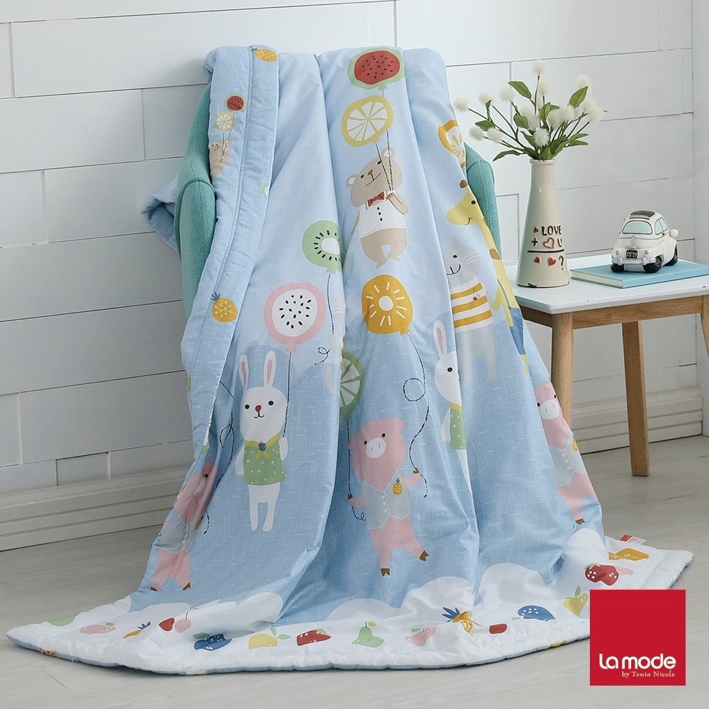 La mode寢飾 飄浮樂園環保印染100%精梳純棉涼被(單人)