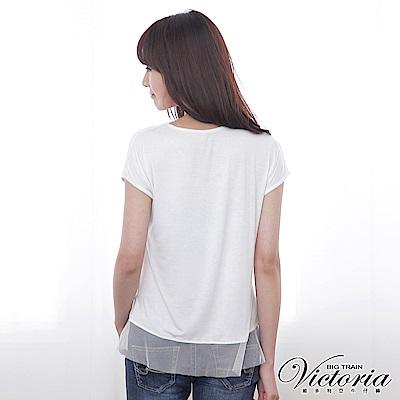 Victoria 隨性印花網紗拼接T-女-白色