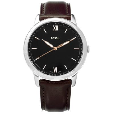 FOSSIL 復古美學輕薄簡約羅馬刻度日本機芯真皮手錶-黑x深棕色/44mm
