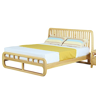 文創集 路斯時尚5尺實木雙人床架(不含床墊)-175x200x100cm免組
