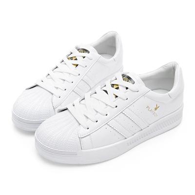 PLAYBOY 簡約潮流皮料拼接休閒鞋-白-Y531811