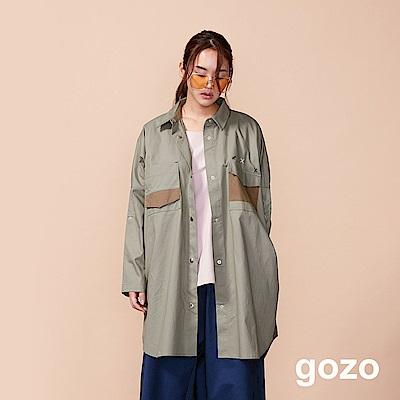 gozo Over Size男孩風開扣襯衫外套(二色)