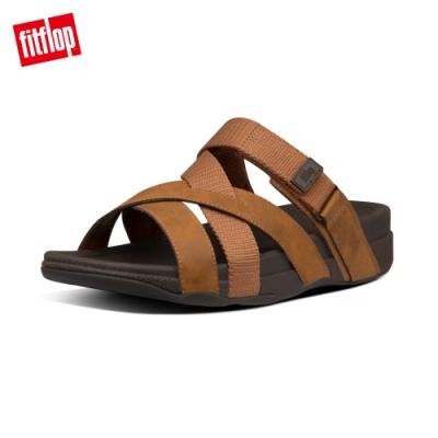 FitFlop ADONIS ADJUSTABLE SLIDES 多帶交錯可調式涼鞋-男(深褐色)