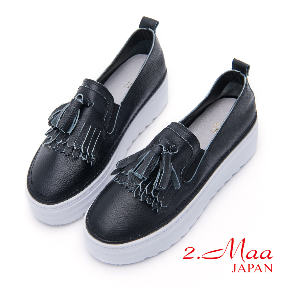 2.Maa-學院流蘇厚底牛皮樂福鞋-黑