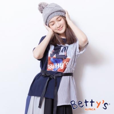 betty's貝蒂思 人像印花拼接下擺不對稱T-shirt(深藍)