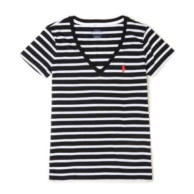 Polo Ralph Lauren 經典小馬V領條紋短袖T恤(女)-黑白條紋色