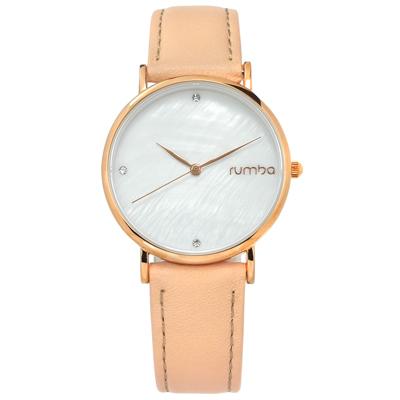rumba time 紐約品牌 珍珠母貝 晶鑽 真皮手錶-銀白x玫瑰金框x粉膚/32mm