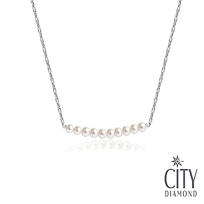 City Diamond引雅 【手作設計系列 】天然珍珠微笑項鍊