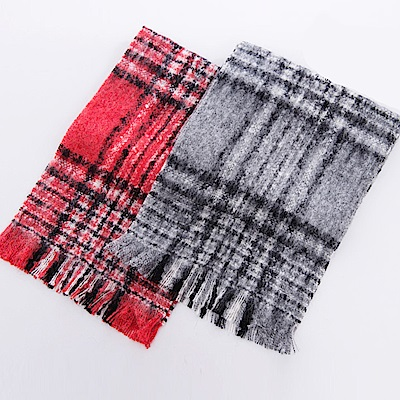 ELLE法式浪漫格紋圍巾_紅/灰