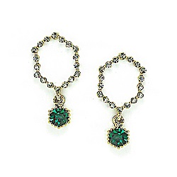 LOVERS TEMPO加拿大品牌 暮光六角造型鑲嵌翠綠水晶 耳環