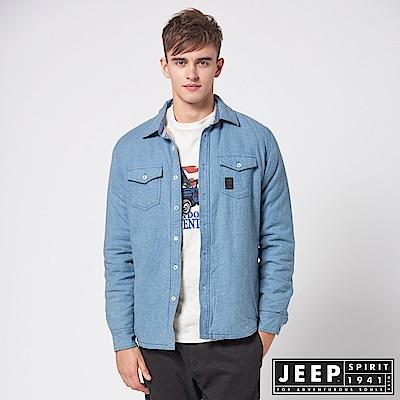 JEEP 刷毛百搭襯衫式外套 -藍色