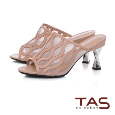 TAS透膚網布曲線高跟涼拖鞋-甜美粉
