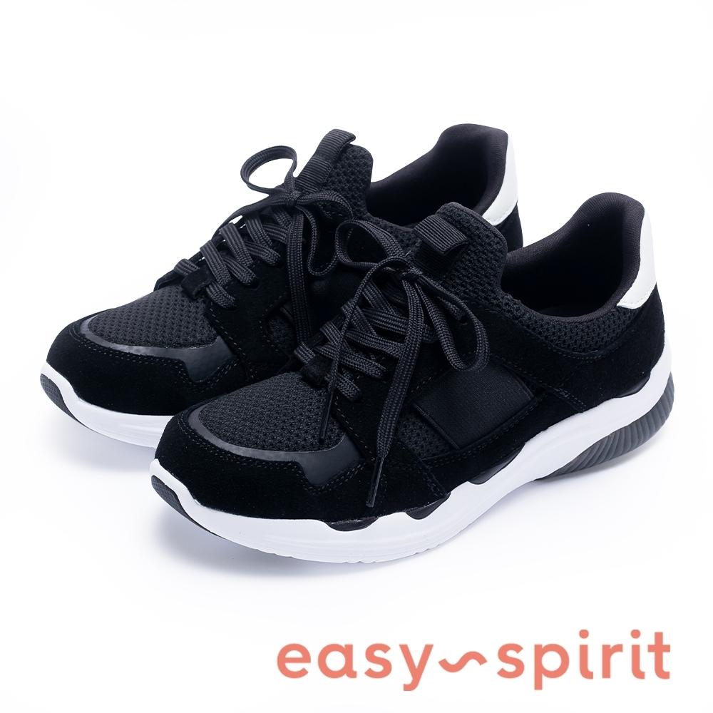 Easy Spirit BEAKER2 經典潮款 綁帶休閒鞋-絨黑