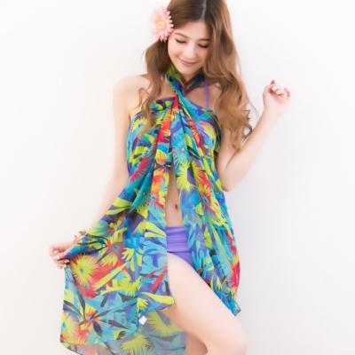 沙灘巾 度假風情 多種穿法外搭紗裙(藍底彩圖F) AngelHoney天使霓裳