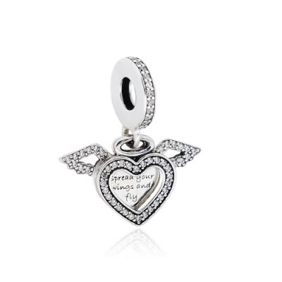 Pandora 潘朵拉 心形天使之翼 垂墜純銀墜飾