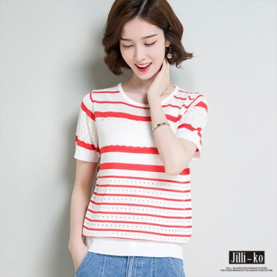 Jilli-ko 夏季條紋薄款鏤空針織衫- 紅/藍