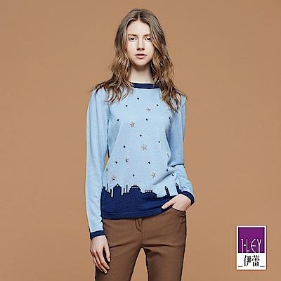 ILEY伊蕾 城市休閒針織上衣(藍)