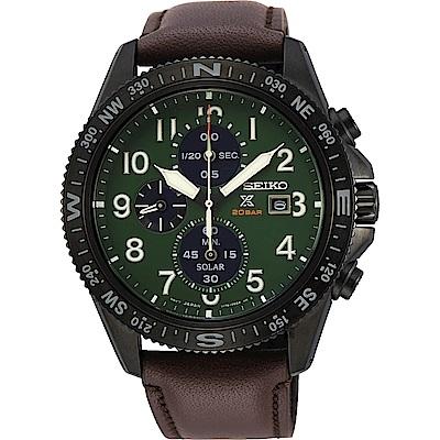 SEIKO 精工 PROSPEX 太陽能計時手錶(SSC739P1)-綠x咖啡/44mm