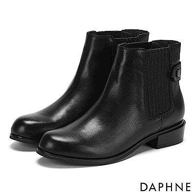 達芙妮DAPHNE 短靴-彈性U字材質拼接低跟圓頭短靴-黑