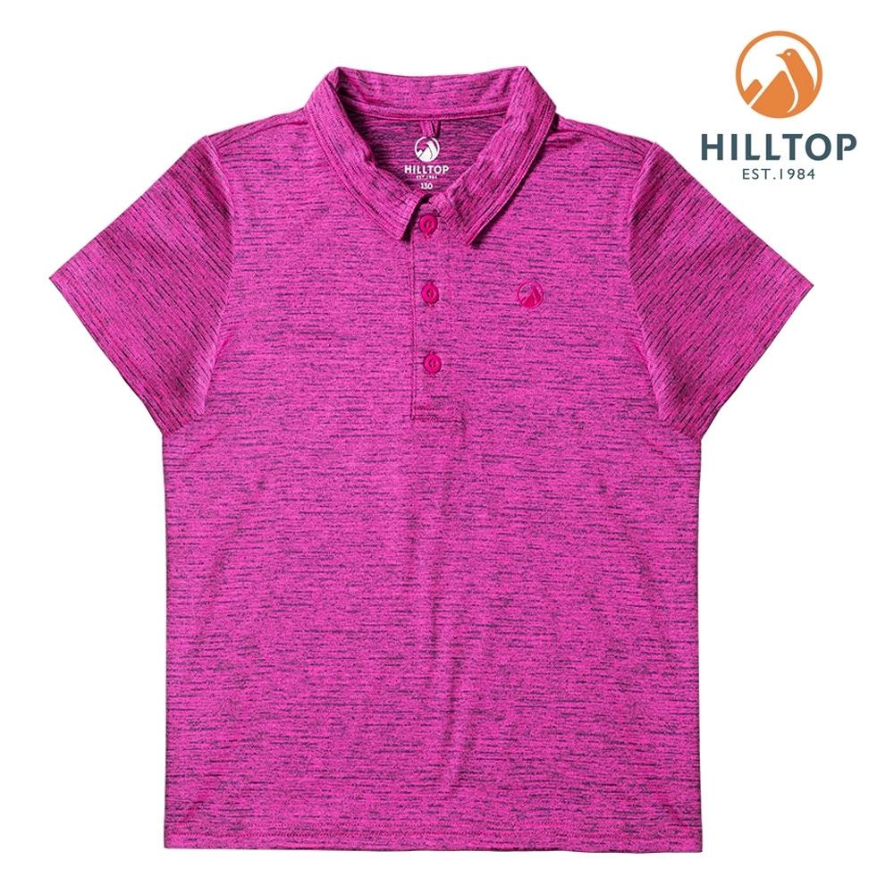 【hilltop山頂鳥】童款抗UV抗菌POLO衫PS14XC02ECF0螢光紫桃紅/黑美人