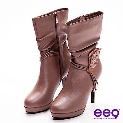ee9 心滿益足~都會精靈水鑽葉片垂綴牛皮抓皺高跟中筒靴~柔美可可