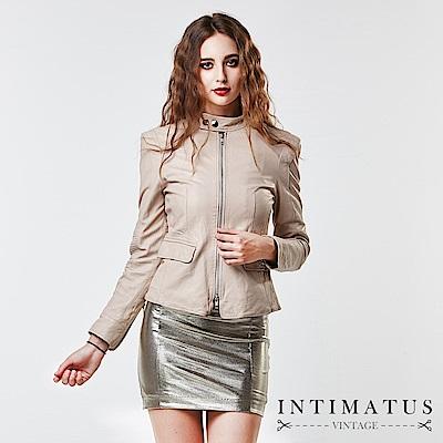 INTIMATUS 真皮 歐美風復古墊肩水洗小羊皮皮衣 氣質米白