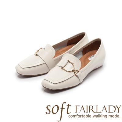 FAIR LADY Soft芯太軟 飾釦縫線方頭內增高平底鞋 奶油白