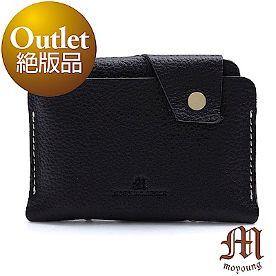 Moyoung 自然手感頂級牛皮票卡短夾 經典黑