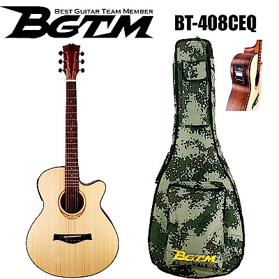 BGTM 草地迷彩限定版BT-408CEQ 電木吉他(AA級英格曼雲杉面板 )