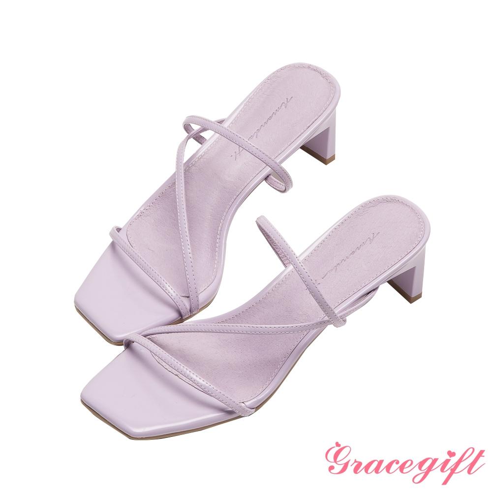 Grace gift X Amanda聯名-全真皮細帶窄跟涼拖鞋 紫