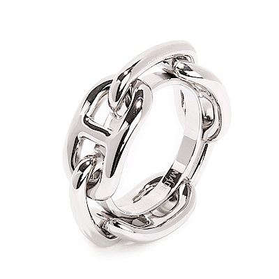 HERMES 經典Regate系列錨鍊造型戒指絲巾環-銀色