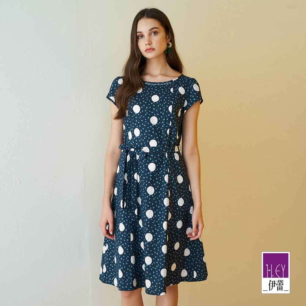 ILEY伊蕾 復古波點純棉修身洋裝(藍)