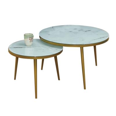 文創集 瑞亞那    現代4尺玻璃大小茶几/圓几組合-120x70x45.5cm免組