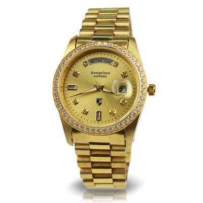 Arseprince -雍容華貴日誌型立體鑲鑽中性錶-金